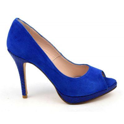 Escarpins plateforme, cuir daim bleu royal, Yves de Beaumond,escarpins 32