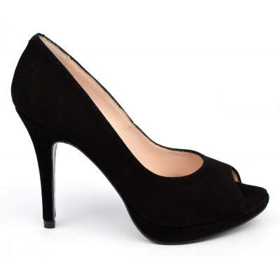 Escarpins plateforme, cuir daim, noires,  Yves de Beaumond,femme petites pointures