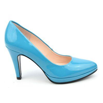 Escarpins plateforme, cuir verni bleu turquoise, escarpins 35