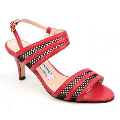 Sandales cuir mat rouge et cuir résille noires, MI-507, Yves de Beaumond, sandales 33