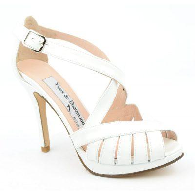 Sandales, cuir verni, blanches, MI-551, Yves de beaumond, sandales 34