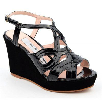 Sandales, cuir verni, noires, talons compensés noirs, MI-230, sandale 35