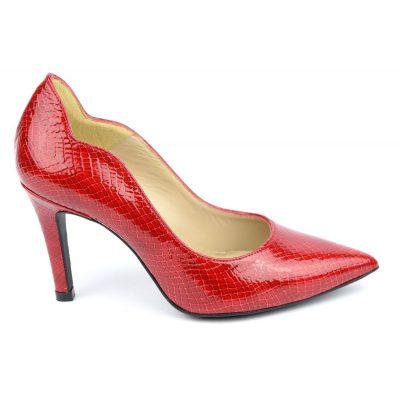 Escarpins cuir, croco verni rouge, Brenda Zaro, F1059A, téva, femme petite pointure