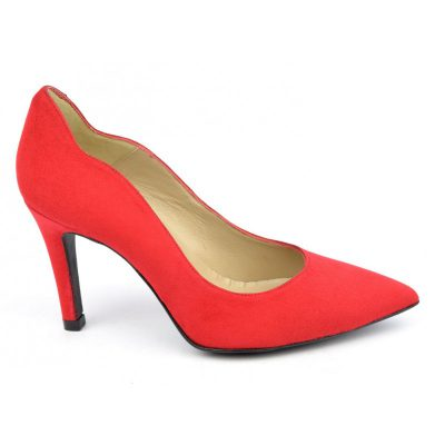 Escarpins cuir, daim rouge, Brenda Zaro, F1059A, téva, femmes petites pointures