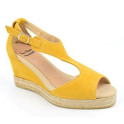 Espadrilles, sandales compensées, cuir daim, jaunes, Anna-GA, Toni Pons, petite pointures