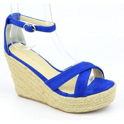 Sandales compensées, aspect daim, bleu royal, Maisila, petits pieds