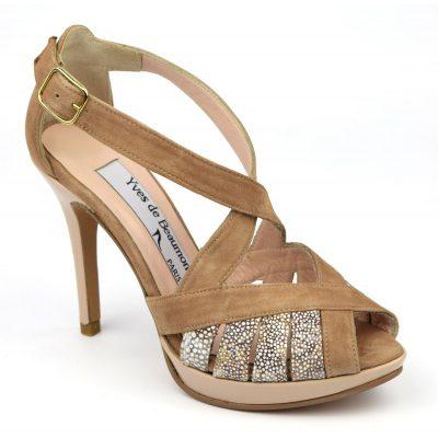 sandale cuir daim marron chaussure petite pointure