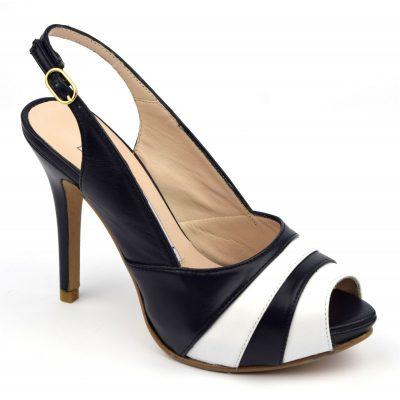 sandale à talons, cuir mat bicolore, chaussures femme petites pointures