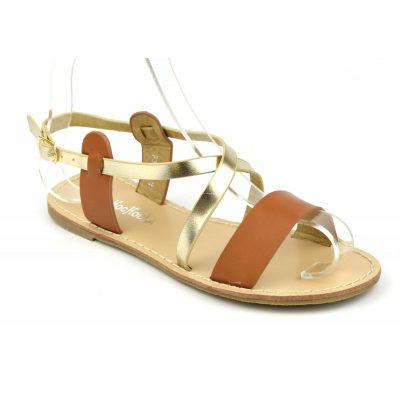 sandale plate mat marron, or chaussures femmes petites pointures