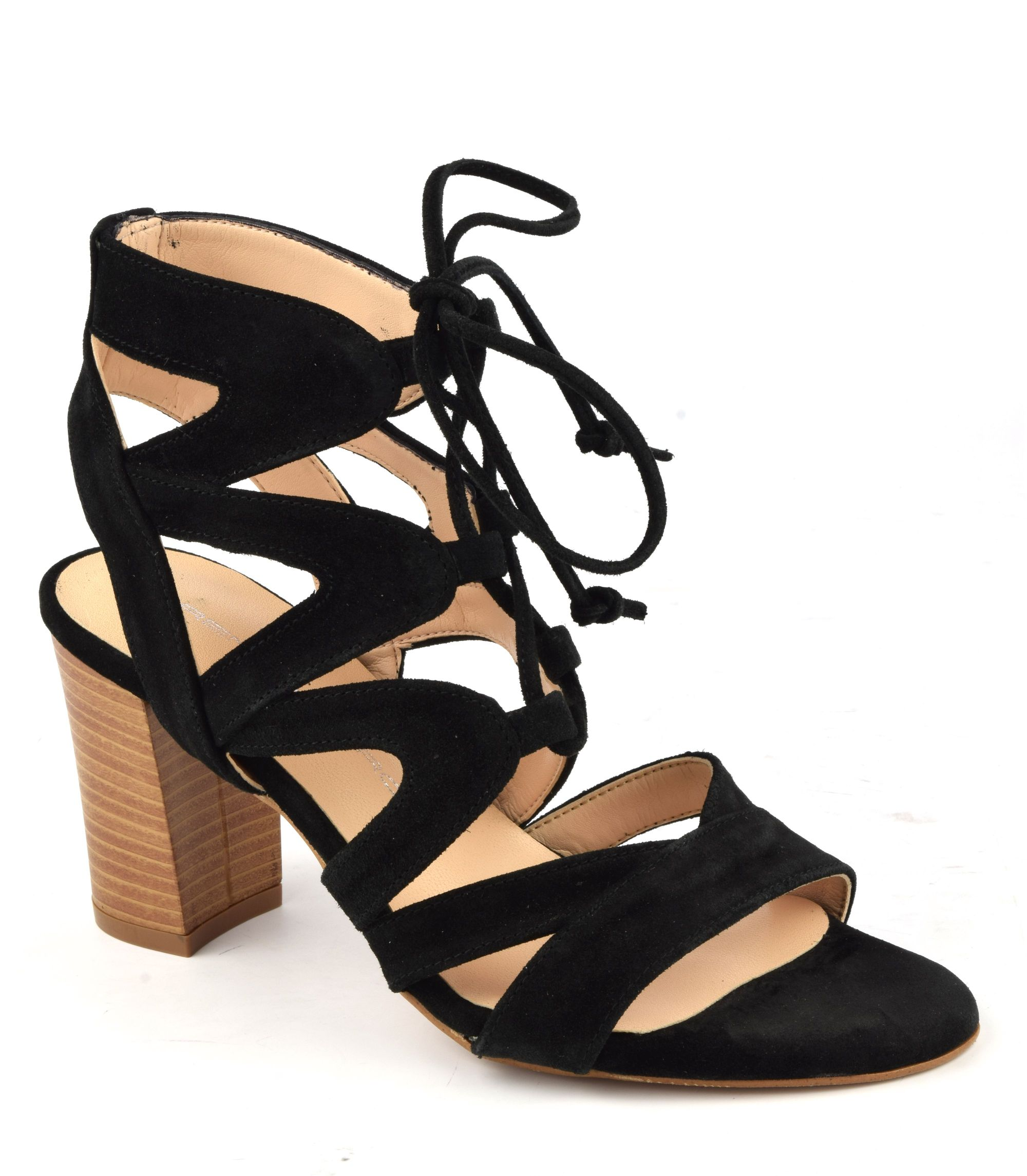 Sandales montantes lacet daim noir F3259, marque brenda Zaro