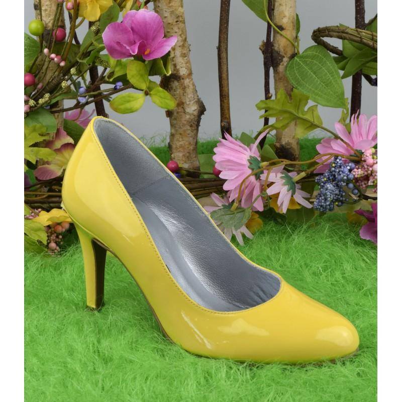 escarpins haut talon jaune petite taille
