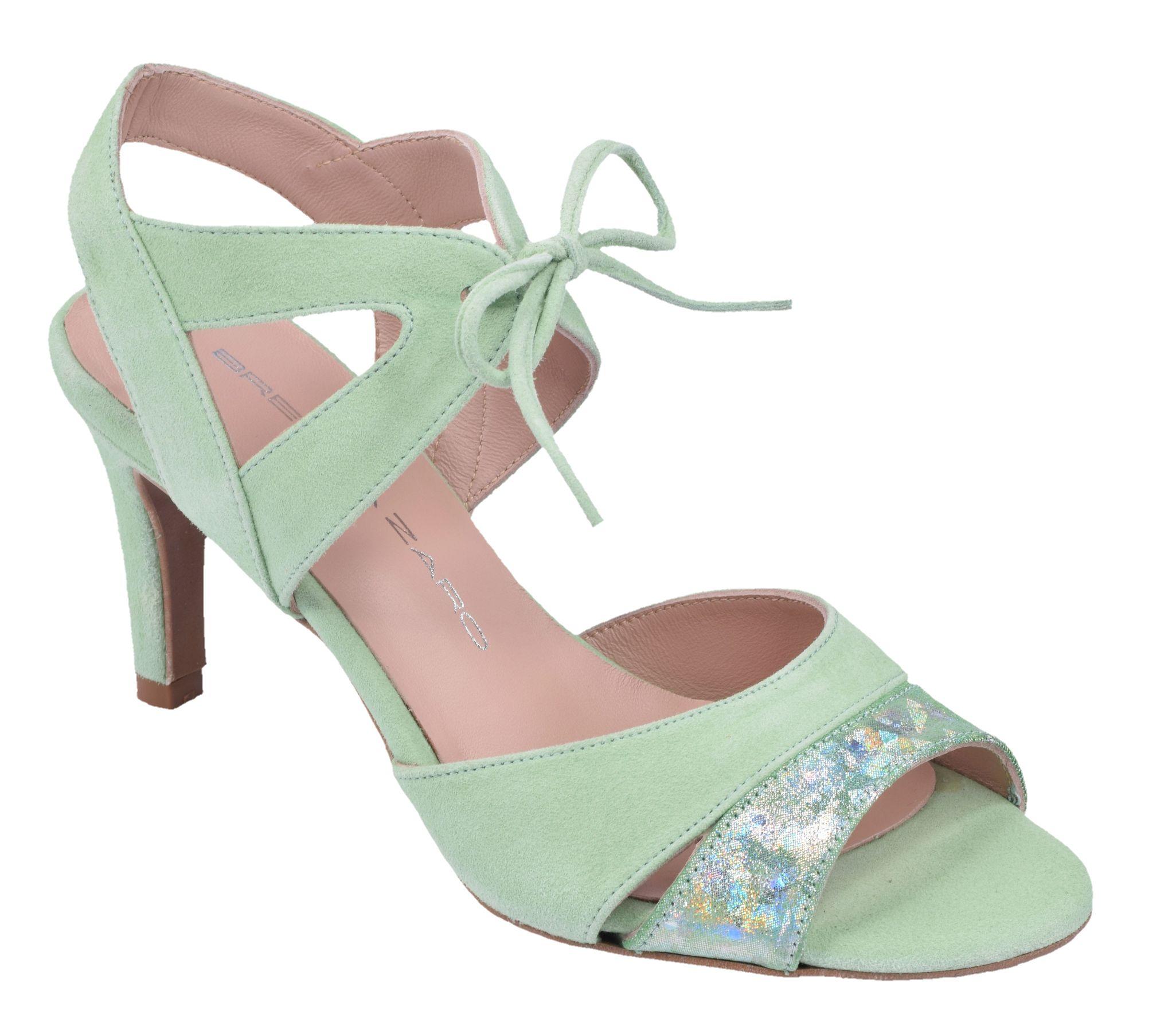 Sandales talons vert menthe femme petites pointures