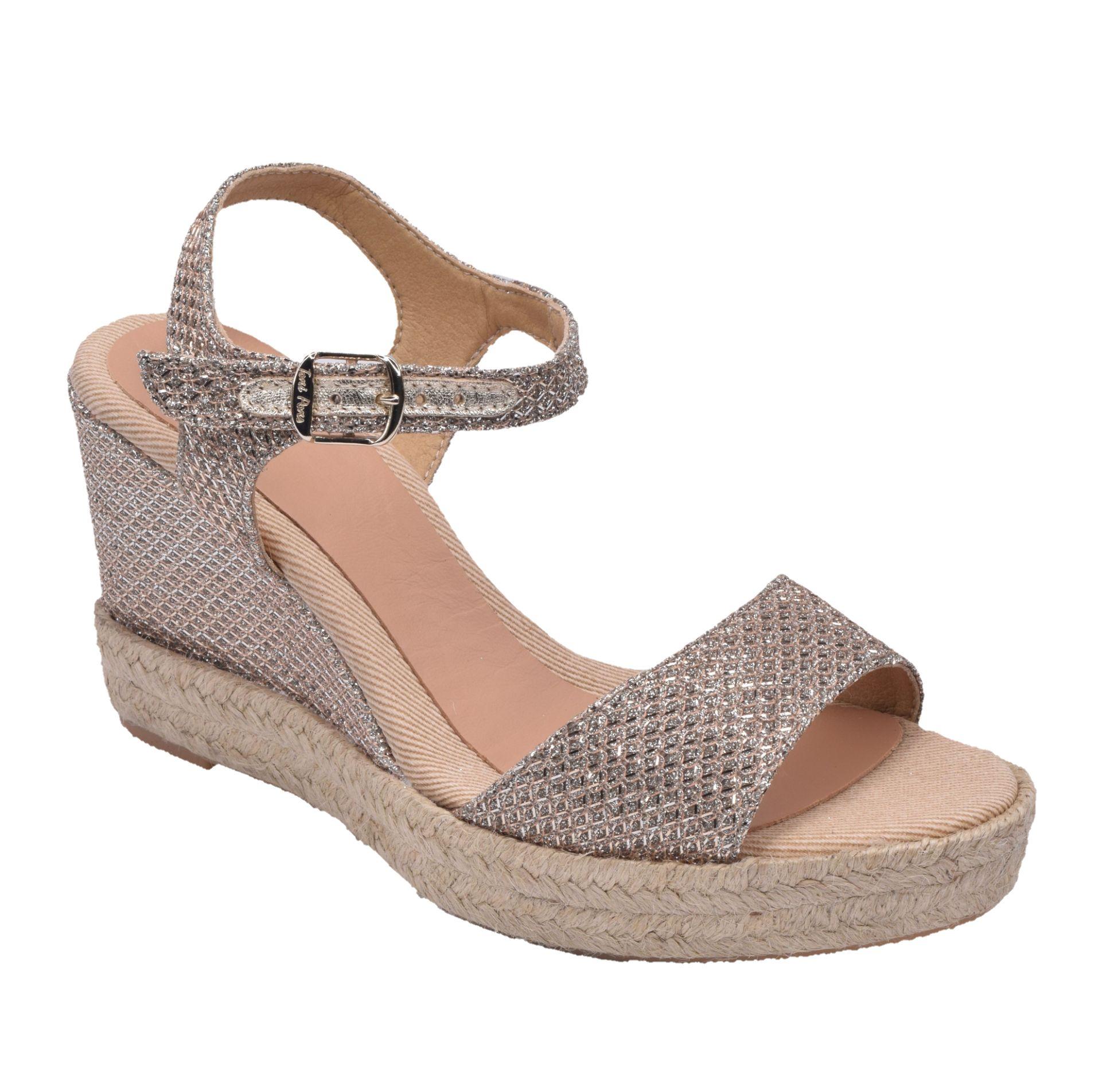 sandales compensées pailletées femme petites pointures