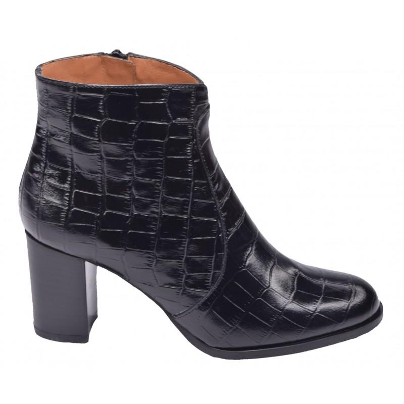 bottines petites pointures cuir croco noir